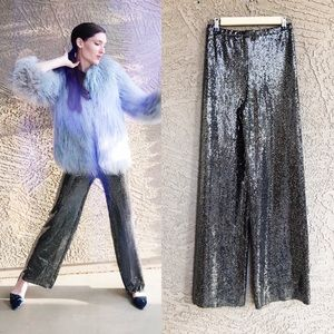FOREVER 22 Sequin Mesh High Waisted Metallic Pants